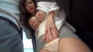 Big-Chested, Japanese black-haired is getting sexually abused in a public buss, but she enjoys it a pile
