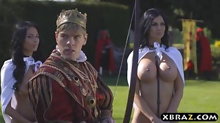 King romps his plump promiscuous servants Jasmine and Anissa