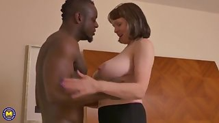Big-Chested mature gal takes a enormous dark-hued jizz-shotgun