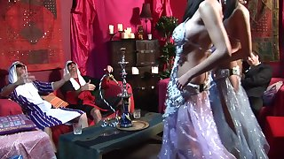 Astonishing stomach dancers has 4some with regard to two rich fellows at the club
