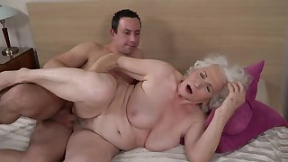 Grey-haired female gets her gradual cunt fucked by younger boy