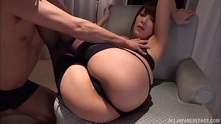 Cumshot on the nearby ass of Kashii Ria after a doggy music pretension fuck