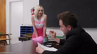 Naughty pupil in cute pink burn the midnight oil Natalia Queen spreads legs on the table for sex