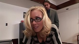 This daft and horny couple adore having hard sex back the office chips work