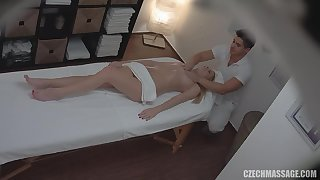 masseur touches her slit - knead porn video