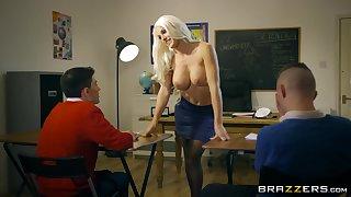 Kinky teacher seduces two students into a threesome