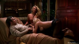 Alexis Malone enjoys a missionary with the addition of a doggy style forth a threesome