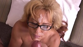 Buxom grown-up jacks phat manstick and takes massive facial cumshot all over their way face sexvideo