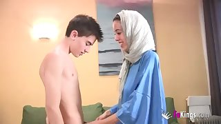 We astonish Jordi by gettin him his first-ever Arab chick! thin teenage hijab