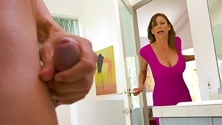 Spotting her son's friend masturbating in go through a revolve