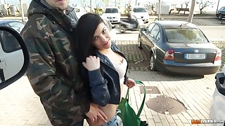 Lewd unladylike Paula Teen is picked up plus fucked by handsome boy in the car