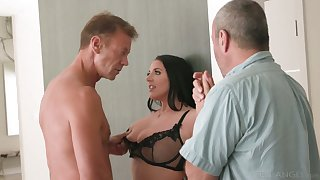 Horny Rocco fucks big titties seductress Angela Sickly apposite on the scullery table