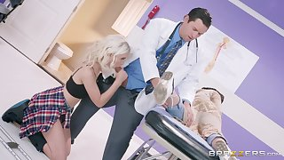After a blowjob Chloe Cherry got her tight pussy fucked by her doctor