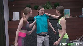 Unforgettable workout fro two fetching fitness teens Izzy Alchy and her girlfriend