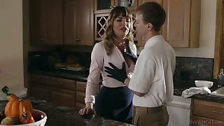 Gorgeous mommy Dana DeArmond bangs her stepson and give shim a great BJ