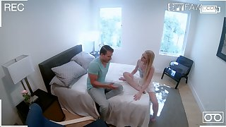 Nasty blond stepsister Emma Starletto is fucked and jizzed roughly front of hidden camera