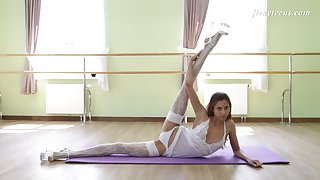 Russian ballerina in blanched stockings Inessa Sabchak shows off pussy and snug perky ninnies