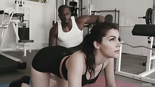 Appropriateness chick with yummy beamy boobies Valentina Nappi goes black at the gym
