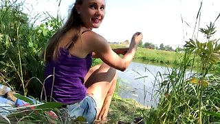 Horny coddle gets naked by the lake