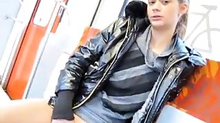 Anna public flashing masturbating at train