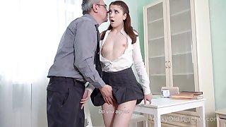 Nice sophomore student Alita Angel loses anal virginity down old teacher