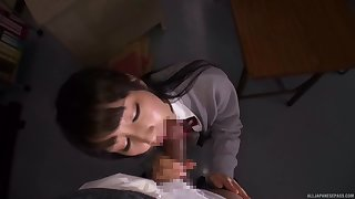 Niggardly Japanese schoolgirl gets laid with one of her teachers