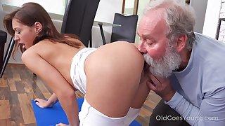 Old behave oneself uncle enjoys fucking slutty behave oneself niece Mina mode yoga exercises