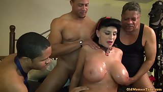 Old Mature Granny Goes Black-potty: Interracial gangbang just about honcho GILF