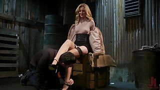 Horny mistress Mona Wales bangs plighted submissive dude with the addition of sucks his cock