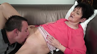 Granny feels young nephew's dick stimulating her relative to pleasant modes