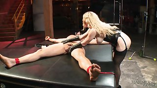 Stunning bitch at hand corset Aiden Starr bangs pledged coupled with crucified man on the table