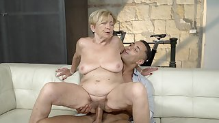 Ancient lady feels great with a mammoth young cock inside her pussy