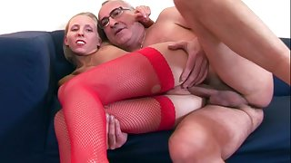 Consumptive blonde Rubicund Ann in fishnet stockings rides an aged load of shit