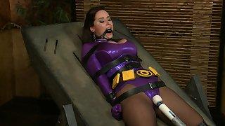 Submissive superwoman christina haulier - fuckmachine and bondage cosplay