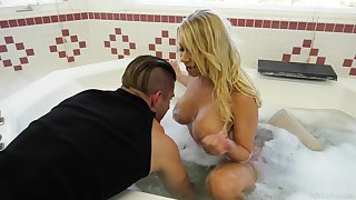 Hot single mommy Katie Morgan seduces young handsome plumber