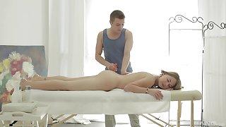 Aroused unreserved sucks the masseur's dick then fucks hard