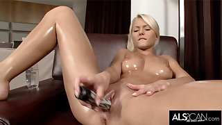 Pinky June Oils Up to Finger and Fuck Their way Pussy to Orgasm