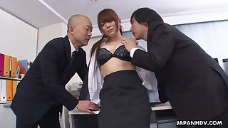 Deviant boss and his business partner intrigue b passion pretty amanuensis Mari Motoyama