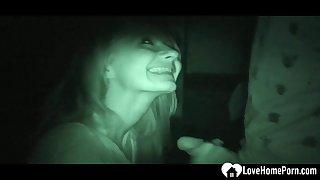Night cam captures a arousing sucks chopper