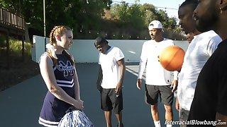Sulky basketball team is face fucking vapid cheerleader Arietta Adams