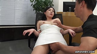 A beautiful HR clerk interviews a man irregularly gives him full access thither her pussy