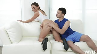 Lubed sexy contraband of curvy MILF Havana Bleu bounce on strong cock