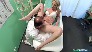 Tyro girl rides the doctor's dick without knowing she is being filmed
