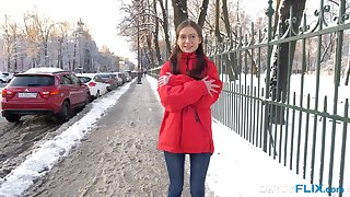 Frozen teen in glasses Selena is warmed wind close to successfully hardcore analfuck