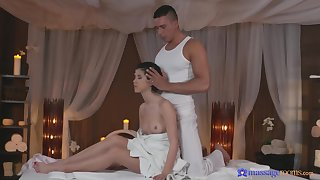 Loved brunette chick massaged and fucked good on get under one's table