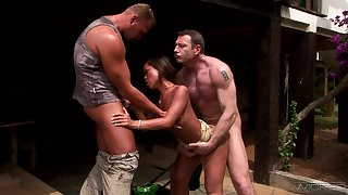 Really lascivious JADE SIN goes nuts powerful on two boner cocks