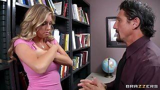 Fucking in the office uneaten with cum on tits of sexy Samantha Saint