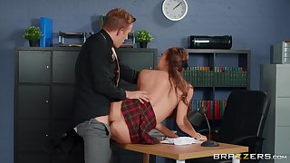 Young lassie Stacy Cruz wears a school unvarying measurement fucked by an older alms-man