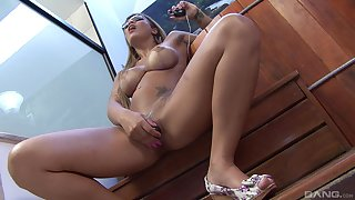 Close up video of gaffer slut Anny Lee getting fucked balls deep