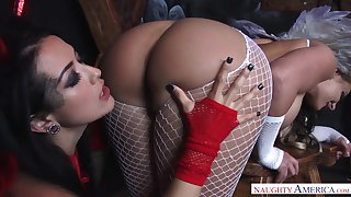 Unforgettable threeway sex with two hot babes in costumes